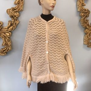 Vintage fringed sweater cape poncho ivory boho